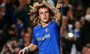 Chelsea's David Luiz celebrates his goal against Aston Villa